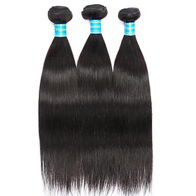 Brasiliansk hår Rett Menneskehår Vevet 3 pakker Hårvever med menneskehår 8a Svart