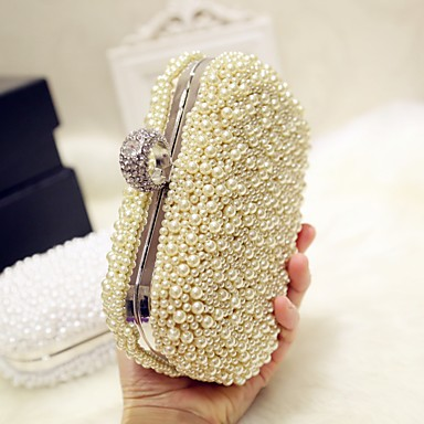 cheap Clutches & Evening Bags-Women's Pearls Evening Bag Silk Solid Colored White / Pink