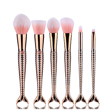6pcs Makeup Brushes Professional Eyeliner Brush Blush Brush Foundation Brush Lip Brush Eyebrow Brush Eyeshadow Brush Contour Brush Eyelash Brush Synthetic Hair Alloy