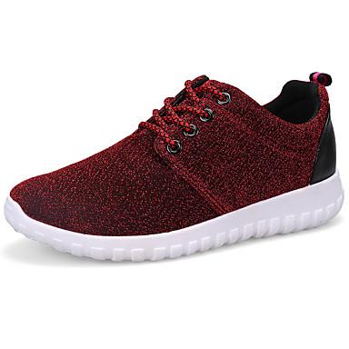 Mulheres Sapatos Borracha Primavera Outono Conforto Tênis Sem Salto Ponta Redonda Cadarço para Ao ar livre Cinzento Vermelho Azul