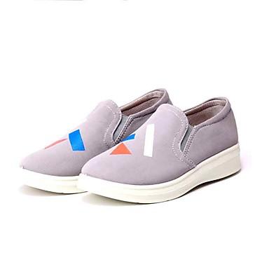 Mulheres Sapatos Tecido Primavera Verão Conforto Mocassins e Slip-Ons Caminhada Sem Salto Ponta Redonda para Casual Preto Cinzento