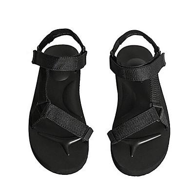 Miehet Sandaalit Comfort Kevät PU Kangas Kausaliteetti Musta Tasapohja