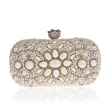 Damen Taschen Polyester ABS + PC Abendtasche Imitationsperle für Hochzeit Veranstaltung / Fest Formal Ganzjährig Champagner Weiß Schwarz