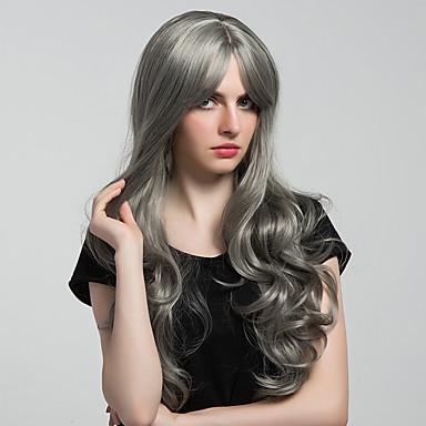 Cabelo Sintético perucas Ondulado Peruca Natural Longo Muito longo Cinza