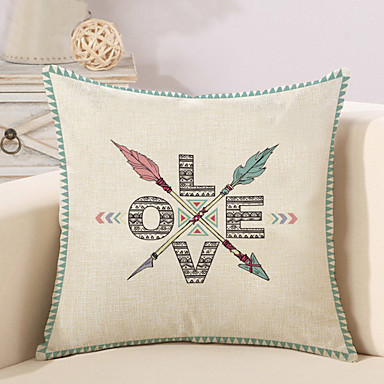1 pcs Cotton / Linen Pillow Cover / Pillow Case, Quotes & Sayings / Fashion / Letter Retro / Traditional / Classic / Euro