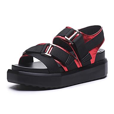 Damen Schuhe PU Sommer Creepers Sandalen Creepers für Draussen Rot / Grün / Champagner