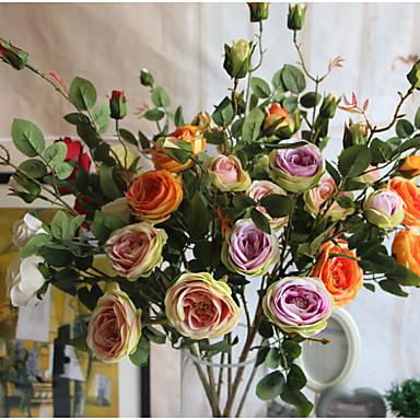 1 Větev Hedvábí Růže Květina na zem Umělé květiny