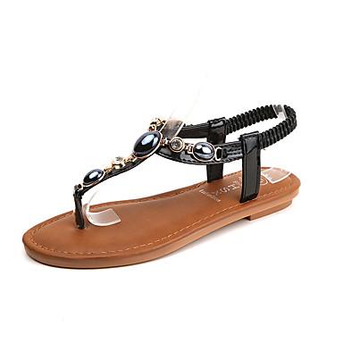 Naisten Kengät PU Kesä Comfort Sandaalit Tasapohja Tekojalokivi varten Kausaliteetti Valkoinen Musta