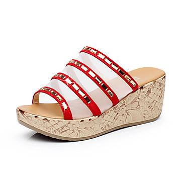 Mulheres Sapatos Couro Verão Conforto Sandálias Salto Plataforma Peep Toe Preto / Amarelo / Vermelho