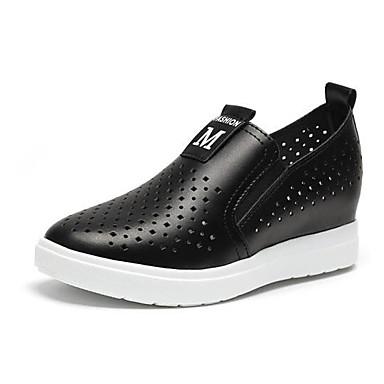 Mulheres Sapatos Microfibra Tecido Primavera Verão Conforto Mocassins e Slip-Ons Caminhada Sem Salto Ponta Redonda para Branco Preto