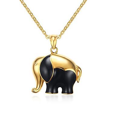 Naisten Riipus-kaulakorut Statement kaulakorut Geometric Shape Animal Shape Elephant Ruostumaton teräs Titaaniteräs Gold PlatedPyöreä