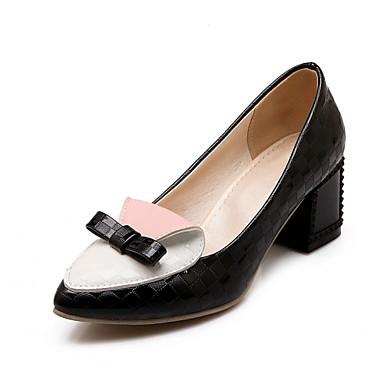 Mulheres Sapatos Courino / Couro Ecológico Primavera / Verão Conforto / Inovador Saltos Caminhada Salto Robusto Dedo Apontado Laço Preto