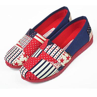 Mulheres Sapatos Tecido Primavera Verão Mocassin Solados com Luzes Mocassins e Slip-Ons Sem Salto Ponta Redonda para Diário Casual Azul