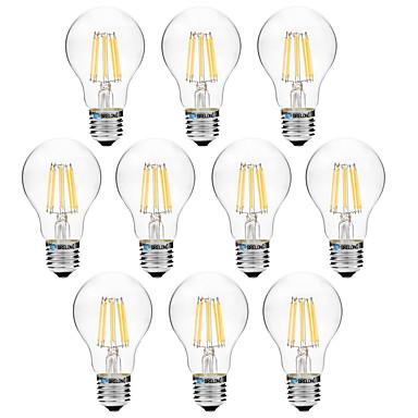 BRELONG® 10pcs 8 W 600 lm E27 LED Filament Bulbs A60(A19) 8 LED Beads COB Warm White / White 200-240 V / 10 pcs