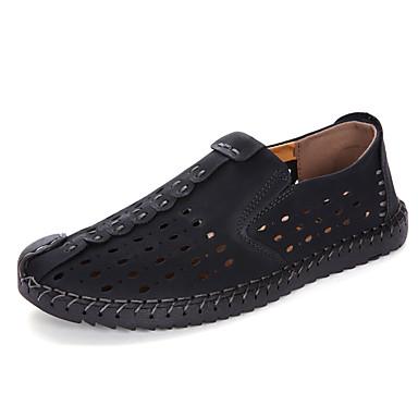 Pánské Sandály hole Boty PU Léto Outdoor Plochá podrážka Černá Hnědá Khaki Méně než 2.5 cm