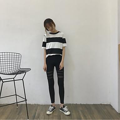 Damen Baumwolle Einfarbig Legging - Solide