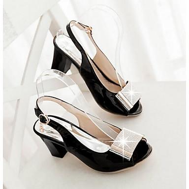 Naiset Sandaalit Kevät Kiiltonahka PU Valkoinen Musta Tasapohja