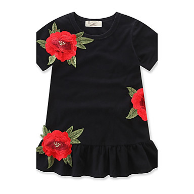 Girl's Floral Fashion Dress, Cotton Summer Short Sleeves Ruffle Black