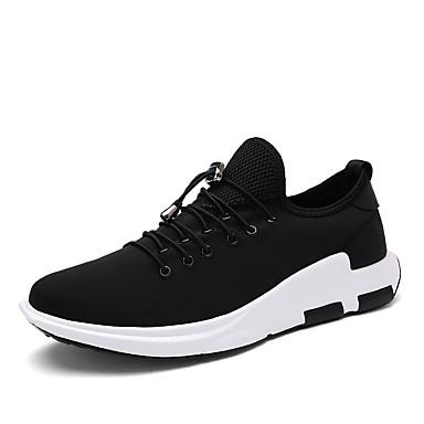 Homens sapatos Tecido Primavera / Outono Conforto Tênis Caminhada Preto