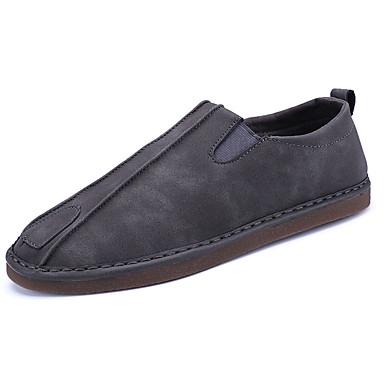 Miesten kengät PU Kevät Syksy Comfort Mokkasiinit varten Urheilullinen Harmaa Ruskea
