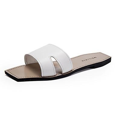 Damen Sandalen Sommer PU Flacher Absatz Weiß Schwarz Flach