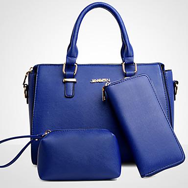 Mulheres Bolsas Couro Ecológico Conjuntos de saco 3 Pcs Purse Set para Escritório e Carreira Todas as Estações Azul Preto Cinzento Fúcsia