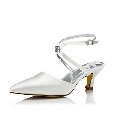 Damen Schuhe Seide Frühling Herbst Komfort einfärbbar Schuhe Hochzeit Schuhe Stöckelabsatz Spitze Zehe Schnürsenkel für Kleid Party &