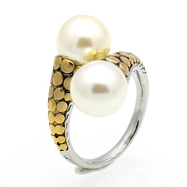 billige Motering-Herre, Dame Imitert Perle Ring, Statement Ring, Band Ring - Perle, Titanium Stål, 18K Gullbelagt Gull, Sølv