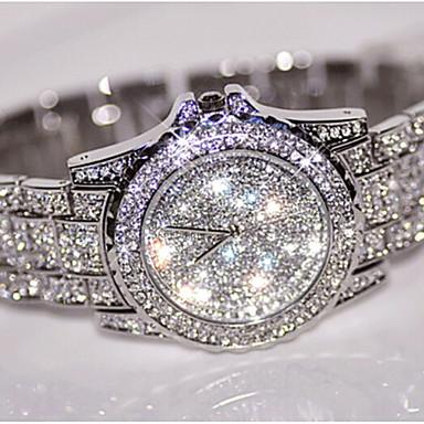 baratos Relógios Senhora-Mulheres Relógios Luxuosos Bracele Relógio Relógio de Pulso Quartzo Aço Inoxidável Prata / Dourada / Ouro Rose Criativo Analógico senhoras Amuleto Luxo Brilhante Pontos - Dourado Prata Ouro Rose Um