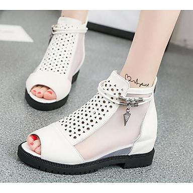 Naiset Sandaalit Comfort Kevät PU Kausaliteetti Valkoinen Musta Tasapohja