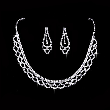 Women's AAA Cubic Zirconia Jewelry Set - Cubic Zirconia, Silver Love Vintage, Fashion, Elegant Include Drop Earrings / Choker Necklace / Bridal Jewelry Sets Silver For Wedding / Party / Anniversary