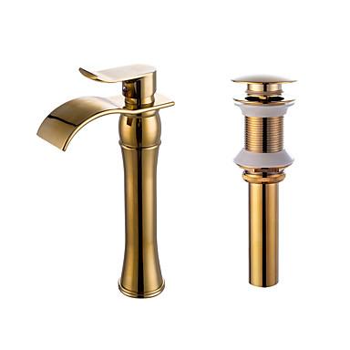 Conjunto Central Cascata Válvula Cerâmica Uma Abertura Ti-PVD, Faucet Set