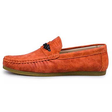 Homens sapatos Borracha Primavera Outono Mocassim Mocassins e Slip-Ons Caminhada para Ao ar livre Preto Laranja Khaki