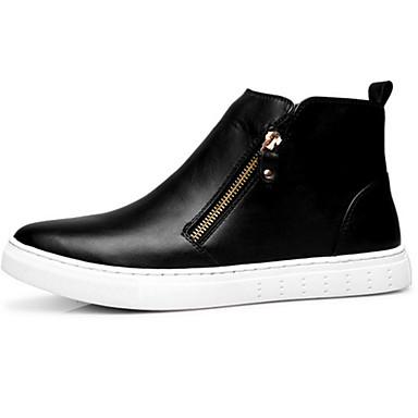 Homens sapatos Couro Outono / Inverno Inovador / Conforto Botas Caminhada Botas Curtas / Ankle Preto