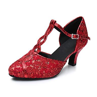 Mulheres Sapatos de Dança Latina Courino Sandália / Têni Presilha Salto Robusto Personalizável Sapatos de Dança Vermelho / Couro