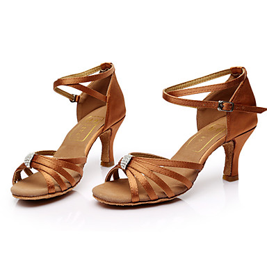 Women's Latin Shoes Silk Sandal Rhinestone Customized Heel Customizable Dance Shoes Brown / Indoor / Leather