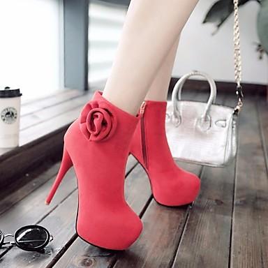 Damen Schuhe PU Herbst Winter Fersenriemen Stiefel Blockabsatz Für Normal Schwarz Braun Rot