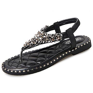 Naiset Sandaalit Comfort Kesä Kumi Kävely Soljilla Tasapohja Musta Beesi Alle 1in