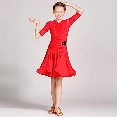 Dança Latina Vestidos Crianças Treino Tule Viscose Plissado 1 Peça Meia manga Natural Vestido