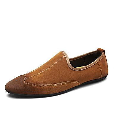 Homens sapatos Pele Primavera Verão Outono Mocassins e Slip-Ons Caminhada Combinação para Preto Marron