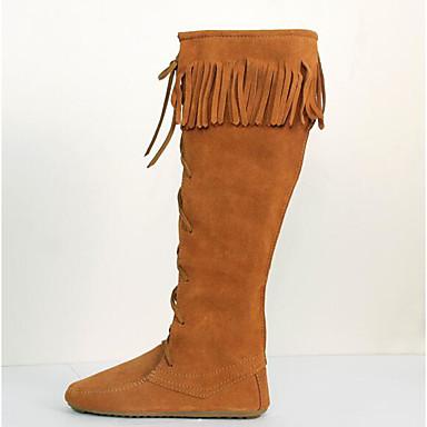 Naiset Kengät Mokkanahka Kevät Comfort Bootsit Käyttötarkoitus Kausaliteetti Musta Ruskea Tumman ruskea