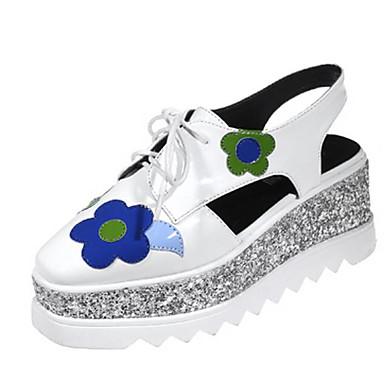 Naiset Kengät Aitoa nahkaa Siannahka Kevät Comfort Sandaalit Käyttötarkoitus Kausaliteetti Valkoinen Musta