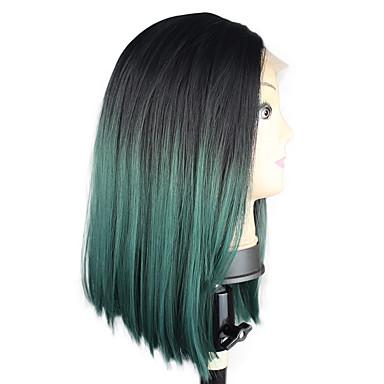 Damen Synthetische Lace Front Perücken Kurz Mittel Gerade Grün Bob-Frisur mit Mittelscheitel Gefärbte Haarspitzen (Ombré Hair)