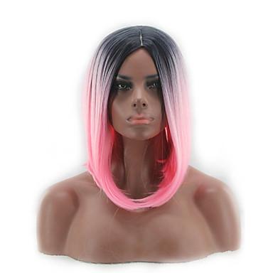 Perucas sintéticas Liso Rosa Corte Bob Cabelo Sintético Repartido ao Meio / Riscas Naturais Rosa Peruca Mulheres Curto / Médio Sem Touca