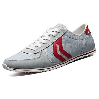 Homens sapatos Tule Primavera/Outono Conforto Tênis Caminhada Cadarço para Casual Vermelho Azul