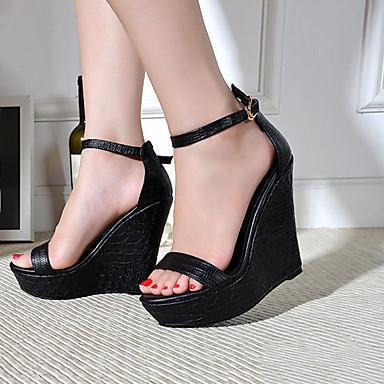 Décontracté compensée Boucle Chaussures Sandales club semelle Noir Hauteur Femme Chaussures Eté Cuir de 05970486 de ouvert Bout PwtqRt