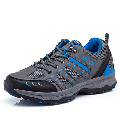 Men's Shoes PU Fall Winter Comfort Athletic Shoes Hiking Shoes Lace-up For Athletic Casual Outdoor Office & Career Dark Blue Light Grey