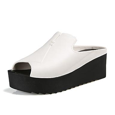Mulheres Sapatos Courino Verão Outono Conforto Saltos Creepers Peep Toe para Casual Social Branco Preto Vermelho