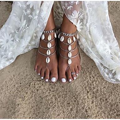 Dámské Nákotník Slza Slitina Ručně Vyrobeno Módní Yalınayak Sandaletleri Stříbrná Šperky Pro Denní Ležérní