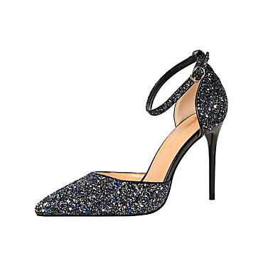 Mulheres Sapatos Couro Ecológico Primavera Verão Saltos Salto Robusto para Branco Preto Prata Vermelho Azul